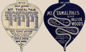 1914 Schedule for the Mt. Tamalpais & Muir Woods Railway with Connections to Sausalito Ferry to San Francisco