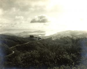 View of the Railroad Route to the Summit of Mount Tamalpais with the West Point Inn in the distance • Circa 1909