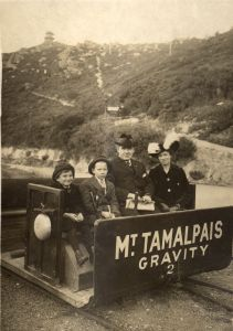 Gravity Car and Passengers on the Mt. Tamalpais & Muir Woods Railway  October 18, 1914