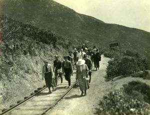 Hikers following the Railroad Grade on their way to the Mountain Play • Circa 1926